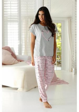 Пижама Arizona. Цвет: серый меланжевый/розовый с рисунком