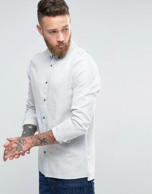 Hoxton Shirt Company Рубашка узкого кроя с ровным низом. Цвет: серый