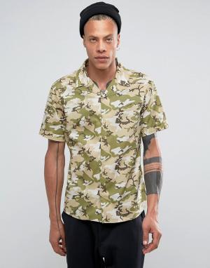 Systvm Камуфляжная рубашка с лацканами на воротнике. Цвет: зеленый