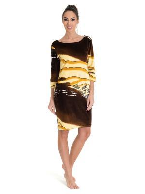 Туника Tenerezza. Цвет: коричневый, желтый