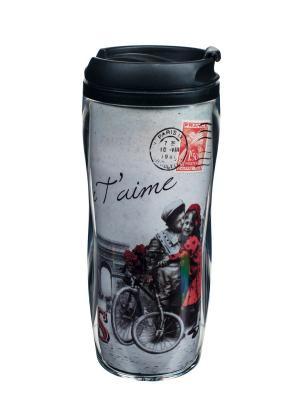Кружка-непроливайка пластиковая ?13,5x18 см,  Париж, я тебя люблю Orval. Цвет: черный, серый, красный