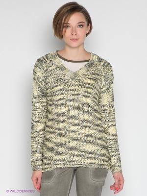 Пуловер Not The Same. Цвет: желтый, серо-зеленый, хаки