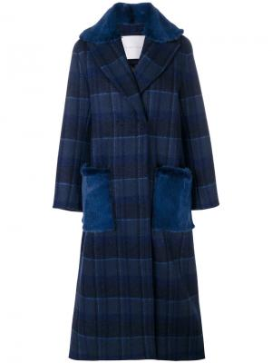 Двубортное пальто в клетку Giada Benincasa. Цвет: синий