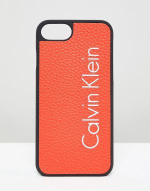 Calvin Klein Чехол для Iphone 7 с логотипом. Цвет: оранжевый