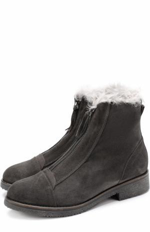 Замшевые ботинки с внутренней отделкой из овчины Baldan. Цвет: темно-серый