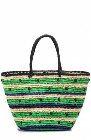 Плетеная сумка с декором Sensi Studio. Цвет: зеленый