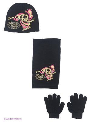 Комплект шапка, шарф, перчатки Sun City. Цвет: черный