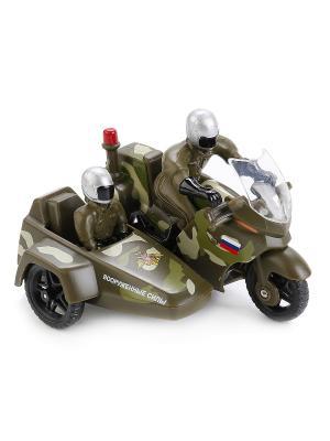 Мотоцикл металлическая  10см, с коляской фигурками полиция/вс . Технопарк. Цвет: зеленый