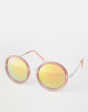 Trip Большие круглые солнцезащитные очки с зеркальными линзами. Цвет: красный