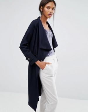 Closet London Двубортное пальто с поясом. Цвет: синий