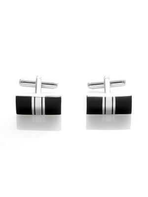 Запонки классически прямоугольные с серебряной полоской Churchill accessories. Цвет: серебристый