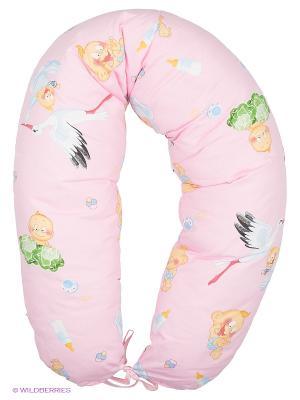 Подушка для беременных и кормления 40 недель. Цвет: розовый, белый