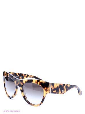 Очки солнцезащитные PRADA. Цвет: серый, бежевый, коричневый