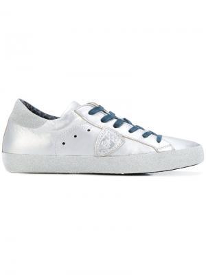 Блестящие кроссовки Philippe Model. Цвет: серый