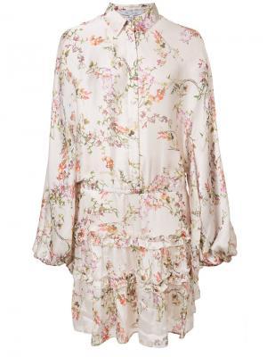Платье шифт с оборчатой отделкой Alexis. Цвет: белый