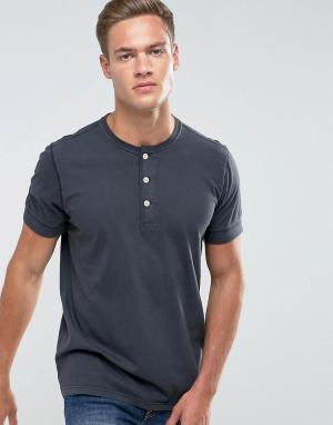 Abercrombie & Fitch Черная футболка хенли узкого кроя. Цвет: черный