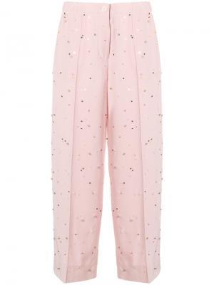 Bead embroidered crepe de chine trousers Miu. Цвет: розовый и фиолетовый