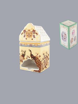 Банка для чайных пакетиков Павлин на бежевом Elan Gallery. Цвет: бежевый, белый, коричневый