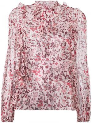 Блузка с рисунком и оборками Giambattista Valli. Цвет: розовый и фиолетовый