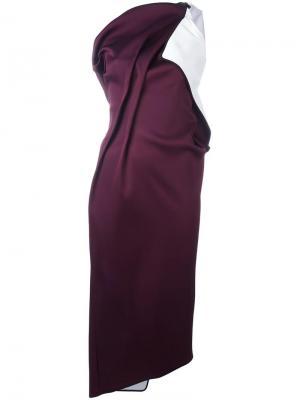 Асимметричное драпированное платье на одно плечо Maticevski. Цвет: розовый и фиолетовый