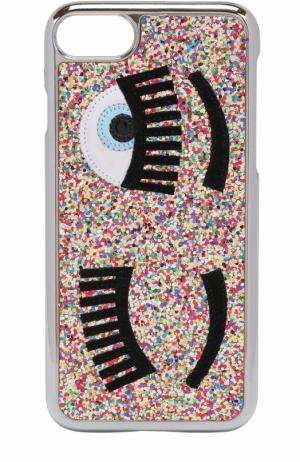 Чехол для iPhone 7 с глиттером и аппликацией Chiara Ferragni. Цвет: разноцветный