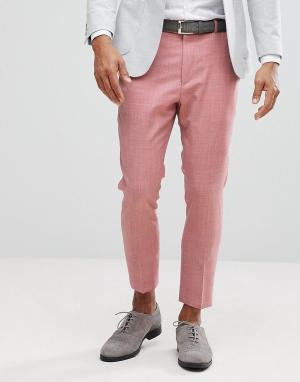 ASOS Розовые суженные книзу брюки из 100% шерсти WEDDING. Цвет: розовый