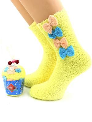 Носки HOBBY LINE. Цвет: голубой, желтый, персиковый