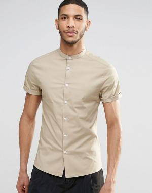 ASOS Бежевая рубашка скинни с короткими рукавами и воротником на пуговице A. Цвет: светло-бежевый