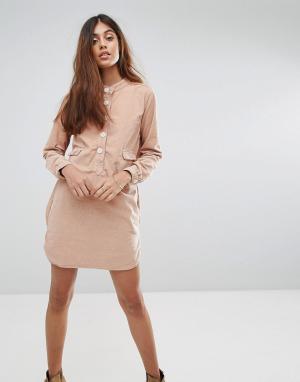 Vanessa Bruno Athé Платье-рубашка с карманом Athe Haritz. Цвет: коричневый