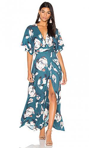 Макси платье кимоно Yumi Kim. Цвет: сине-зеленый