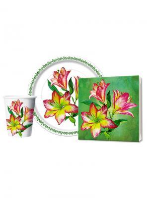 Набор Лилии для пикников и праздников: салфетки, стаканы, тарелки Bulgaree Green. Цвет: серо-зеленый, белый, светло-коралловый