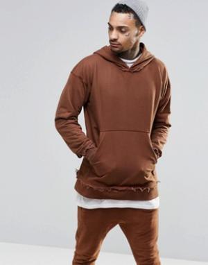 Other UK Oversize-худи с необработанными краями. Цвет: коричневый