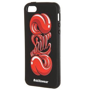 Чехол для iPhone  Язык 5/5s Черный Skills. Цвет: черный,красный