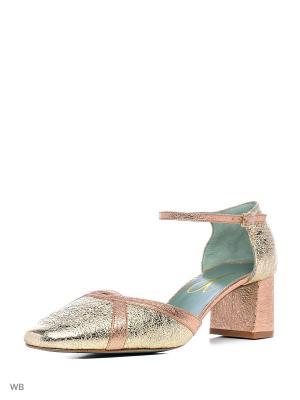 Туфли PAOLA D'ARCANO. Цвет: золотистый, серебристый, бледно-розовый