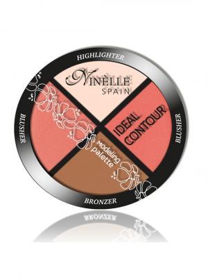Палетка для моделирования лица Ideal Contour №37, Натуральные оттенки Ninelle. Цвет: коралловый, бронзовый, персиковый