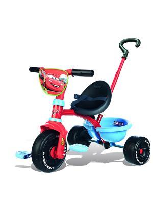 Велосипед трехколесный с ручкой, Cars, 68*52*52 Smoby. Цвет: красный, черный, голубой