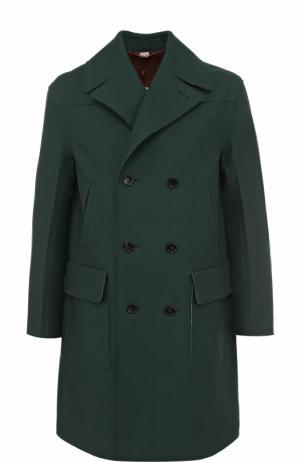 Двубортное шерстяное пальто с необработанным краем Gucci. Цвет: зеленый
