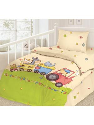 Комплект постельного белья, ясли, наволочка 40*60см, ткань-сатин, хлопок-100%, Паровозик Волшебная ночь. Цвет: зеленый, бежевый