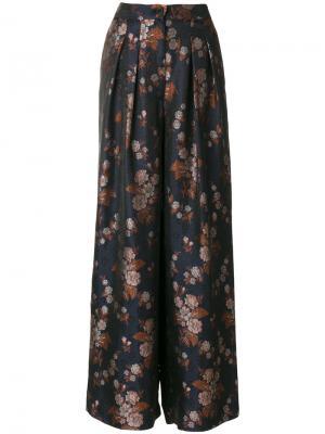 Широкие брюки с цветочным принтом Erika Cavallini. Цвет: синий