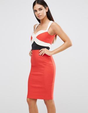 Vesper Платье колор блок. Цвет: красный