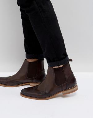 ASOS Коричневые кожаные ботинки челси с перфорацией. Цвет: рыжий