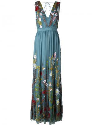 Длинное платье с цветочной вышивкой Alice+Olivia. Цвет: синий