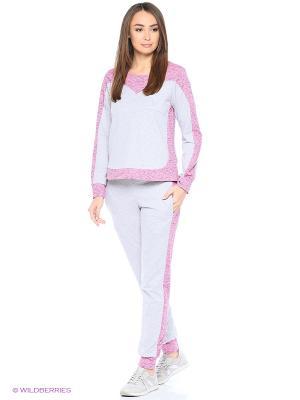 Спортивный костюм-толстовка, брюки NAGOTEX. Цвет: серый, розовый