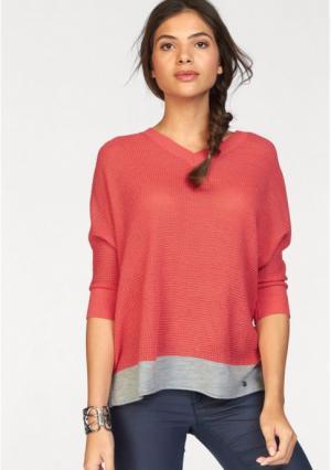 Пуловер AJC. Цвет: коралловый/светло-серый меланжевый, светло-серый меланжевый