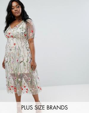 Elvi Платье с цветочной вышивкой. Цвет: мульти