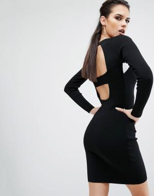 Kendall + Kylie Платье с длинными рукавами и вырезами на спине. Цвет: черный