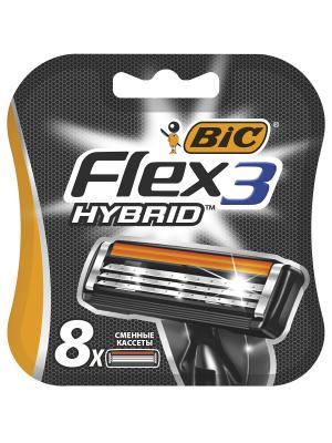Картриджи для бритвы Flex 3 Hybrid 8 шт. BIC. Цвет: черный, оранжевый