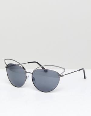 Jeepers Peepers Черные солнцезащитные очки кошачий глаз. Цвет: черный