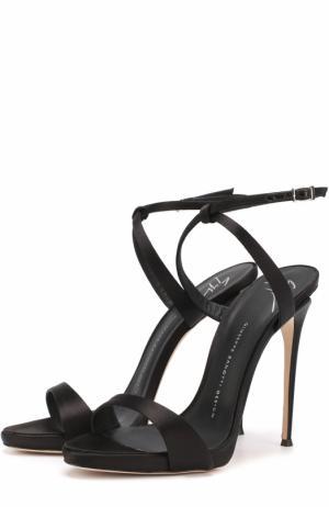 Атласные босоножки Sophie на шпильке Giuseppe Zanotti Design. Цвет: черный