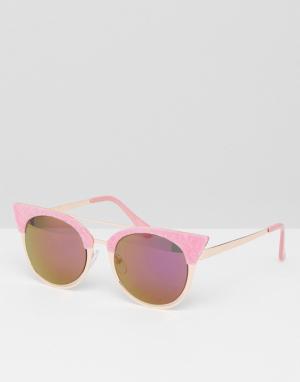 Skinnydip Солнцезащитные очки кошачий глаз с розовой бархатной отделкой Skinnydi. Цвет: розовый